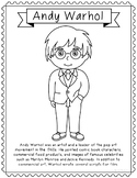 Andy Warhol, Famous Artist Informational Text Coloring Page Craft or Poster