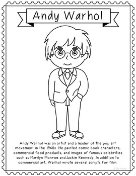 Andy Warhol Famous Artist Informational Text Coloring Page Craft Or