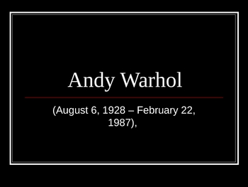 Andy Warhol PPT