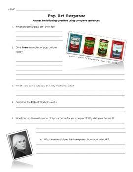 Andy Warhol Pop Art Response Questions