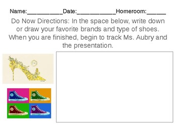 Andy Warhol Shoe Design Sculpture (Art Sketch Packet to Accompany Lesson)