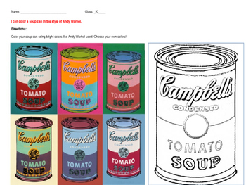 andy warhol soup can art worksheets by steam art teacher tpt. Black Bedroom Furniture Sets. Home Design Ideas