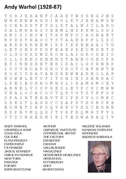 Andy Warhol Word Search