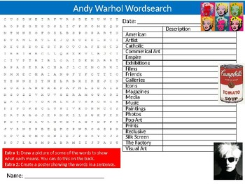 Andy Warhol Wordsearch Puzzle Sheet Starter Activity Keywords Art Pop Artist