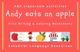 Andy eats an apple: ABC writing, flashcards, word cards