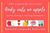 Andy eats an apple: ABC cursive writing exercises, flashcards, word cards