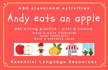Andy eats an apple: ABC writing, flashcards, word cards - PRINT & CURSIVE BUNDLE