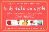 Andy eats an apple: ABC writing, flashcards, word cards -