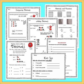 Andy the Decimal Printables - Teaching Students Decimal Place Value