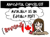 Anecdotal Assessment Checklist (REVISED)