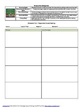 Anecdotal Guided Reading Form