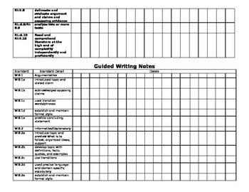 Anecdotal / Guided Reading & Writing Notes Form for 8thgr. CCSS