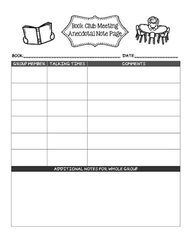 Anecdotal Note Sheet for Book Club Discussions