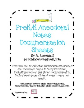 Anecdotal Notes Documentation Sheets for Early Childhood (Editable)