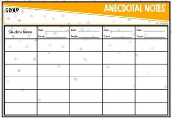 Anecdotal Notes - Editable - Watercolour Confetti Theme