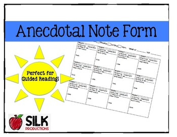 Anecdotal Notes Form