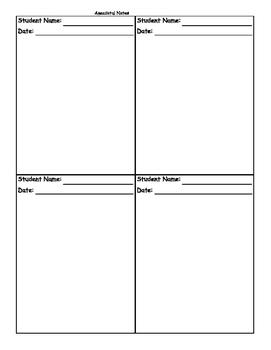 Anecdotal Notes Record Sheets
