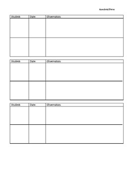 Anecdotal Notes Template Teaching Resources | Teachers Pay Teachers