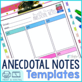 Anecdotal Notes Templates   Digital and Printable
