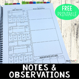 Anecdotal Notes for Math, Reading, and Behavior