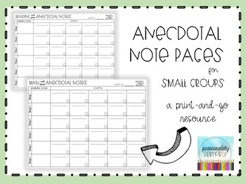 Anecdotal Notes for Small Groups