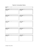 Anecdotal Notes for Teacher Use