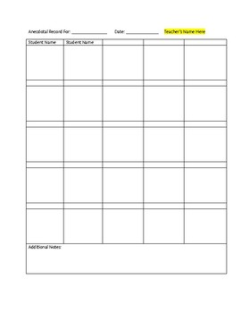 Anecdotal Observation Sheet