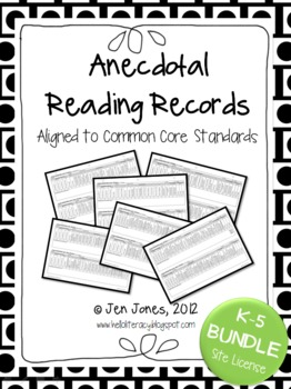 Anecdotal Reading Record Assessment {Common Core Aligned} K-5 Bundle