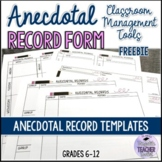 FREEBIE Anecdotal Record Forms (Assessment tool)