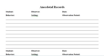 Anecdotal Record Page - Editable