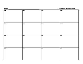 Anecdotal Record Sheet