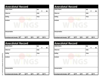 Anecdotal Records Form