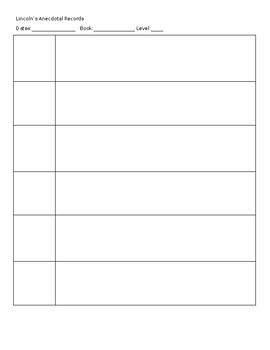 Anecdotal Records Recording Sheet