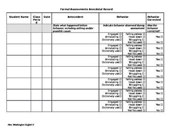 Anecdotal Records for Formal Assessments