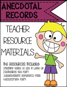 Anecdotal record keeping resources
