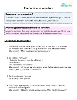 Anecdote Assignment (French)