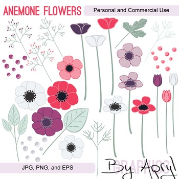 Anemone Flowers Clip Art JPG PNG and Vector EPS Commercial Use