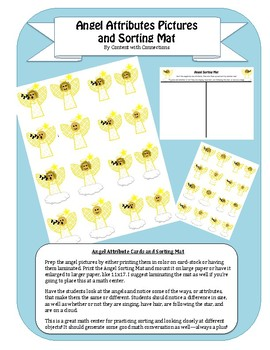 Angel Attribute Sorting Cards: Christmas/December Math Center or Activity