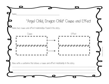 """Angel Child, Dragon Child""  Cause and Effect Worksheet"