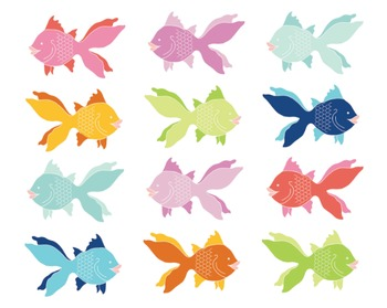 Angel Fish Clipart, Digital Clipart, Fish Clipart Set #006