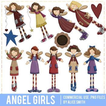 Angel Girls Clip Art Graphics