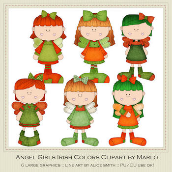 Angel Girls Irish Colors Clip Art Graphics Pkg 1