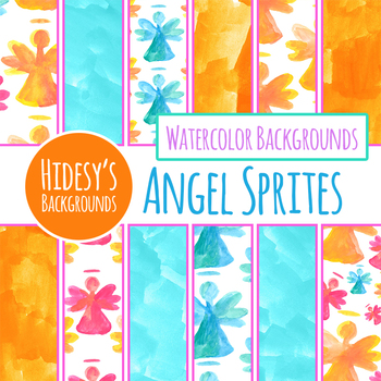 Angel Handpainted Watercolor Digital Papers / Backgrounds Clip Art Set