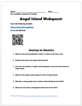 Angel Island and Chinese Immigration Webquest