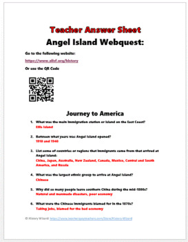 Angel Island and Chinese Immigration Webquest by History Wizard