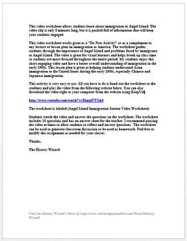 Angel Island and Immigration Video Worksheet/Webquest