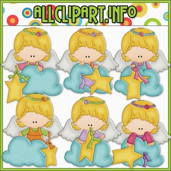 BUNDLED SET - Angel On A Cloud 1 Clip Art & Digital Stamp Bundle - Alice Smith
