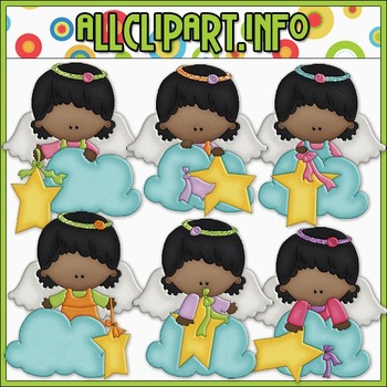 BUNDLED SET - Angel On A Cloud 3 Clip Art & Digital Stamp