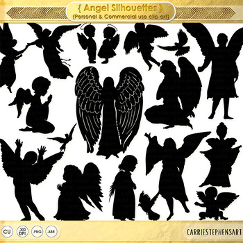 Angel Silhouette Images, Angel Children ClipArt, PS Brush