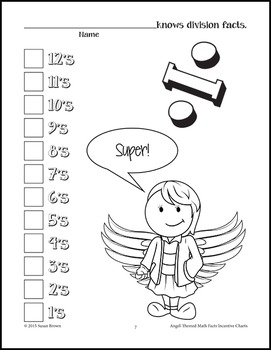 Angel-Themed Math Facts Incentive Charts